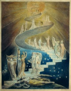 Angels walking up a spiral staircase, diminishing with distance