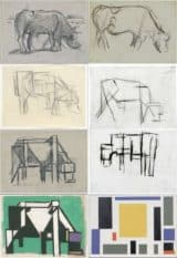 Stages of Abstraction as seen by an artist. Near photo to less and less detail until geometric block shapes