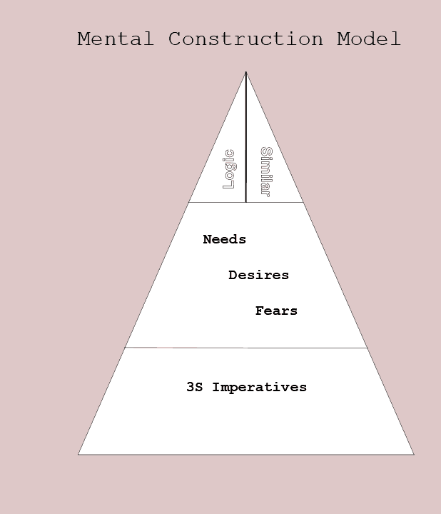 Figure 23.2 Mental Construction model. A pyramid with a base provided by 3S Imperatives, a middle layer of emotions, and the peak split into reasoning provided by logic and by similarity.