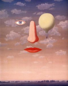 The Beautiful Relations by Rene Magritte. Seeing facial elements among the clouds